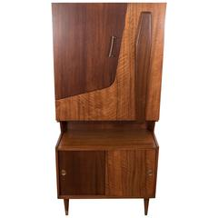 Midcentury Modern Two Tone Wood Bar and Liquor Cabinet