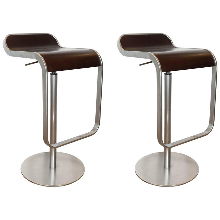 Pair Of Lem Piston Barstools In Walnut And Chrome For Lapalma