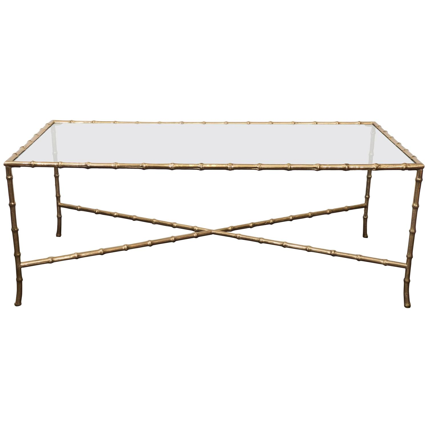 Brass Faux Bamboo Coffee Table: Mid-Century Brass Faux Bamboo Coffee Table By Maison