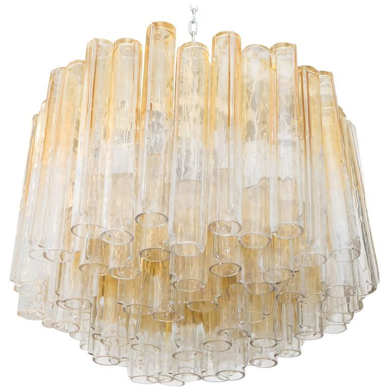 Large Tubular Murano Glass Chandelier by Venini