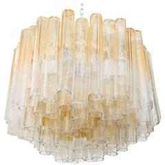 Large Tubular Murano Glass Chandelier by Venini