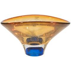 Swedish Amber and Cobalt Vision Glass Bowl by Göran Wärff for Kosta Boda