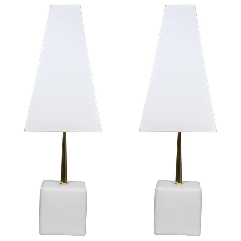 Nice Leather and Brass Angelo Brotto Pair of Lamps by Esperia