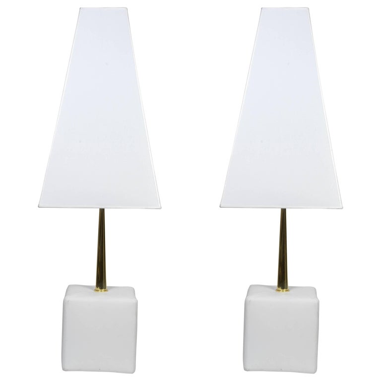 Nice Leather and Brass Angelo Brotto Pair of Lamps by Esperia For Sale