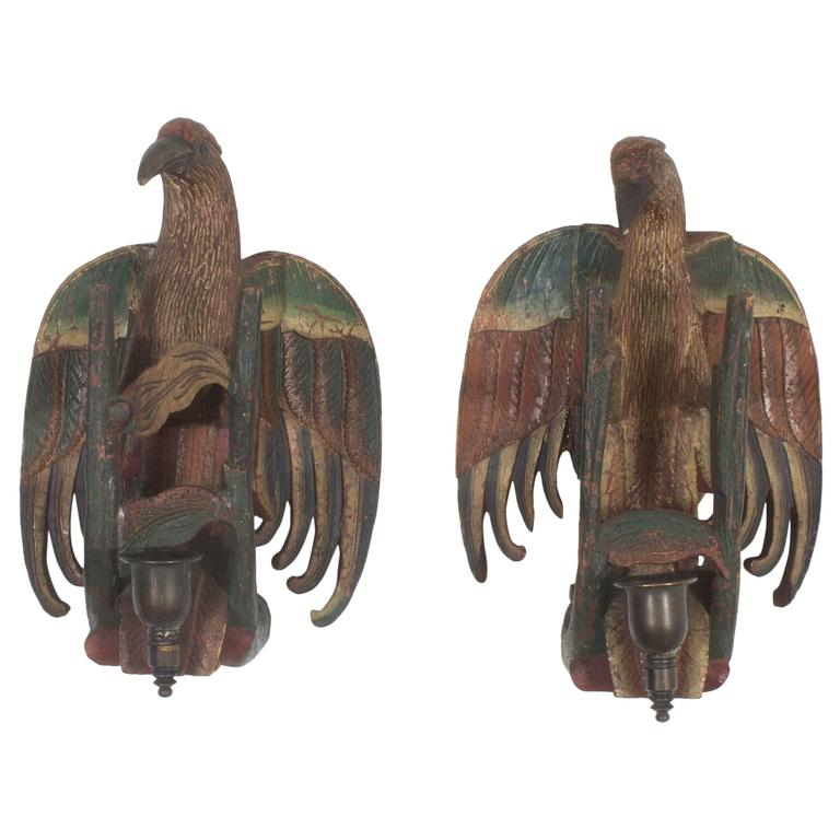 Wall Sconces With Birds : Folky Bird Sconces For Sale at 1stdibs