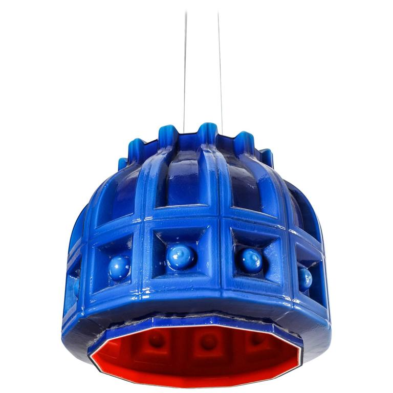 Helena Tynell Blue and Orange Glass Pendant for Flygsfors, Sweden, 1960s