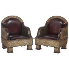 Pair of Moroccan Inlaid Club Chairs