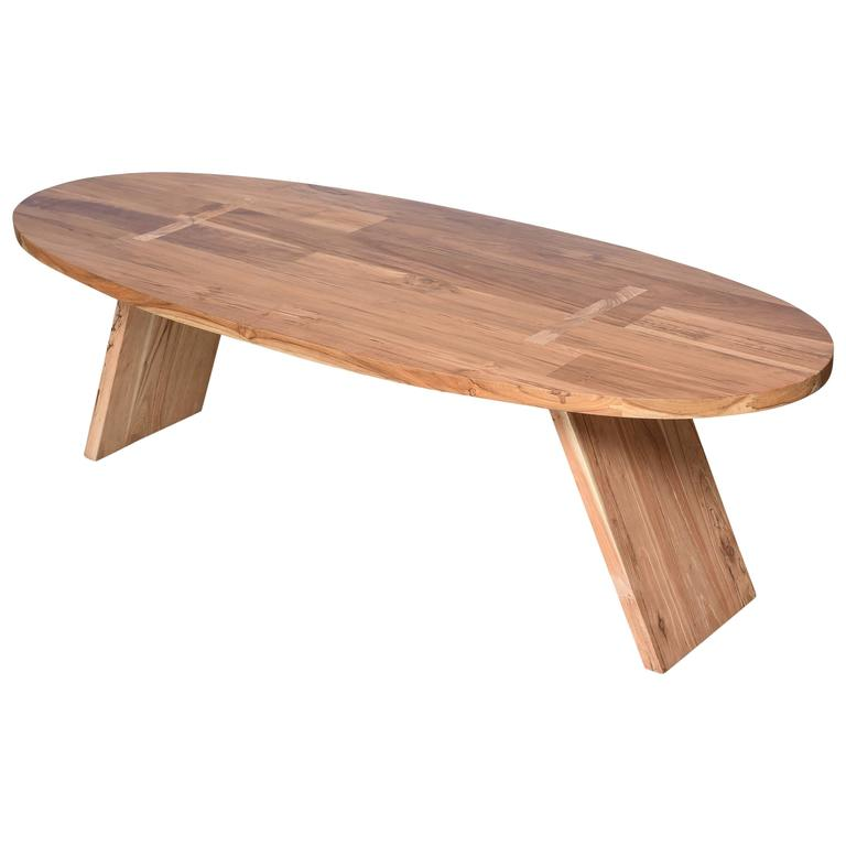 Coffee Table Teak Wood Oval Surfboard Shape Handmade At 1stdibs