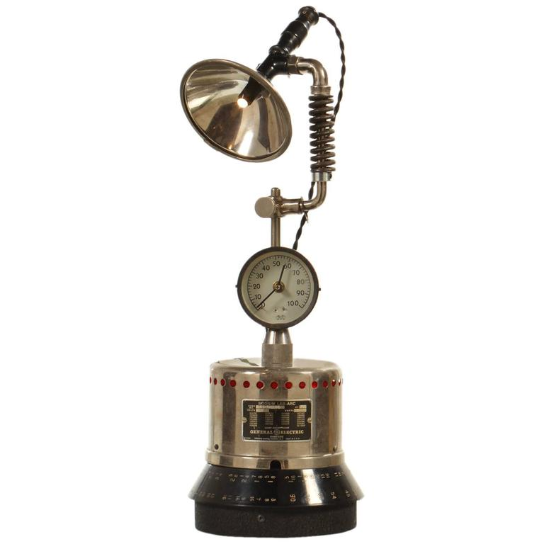 LED Industrial Table Lamp With Clock At 1stdibs