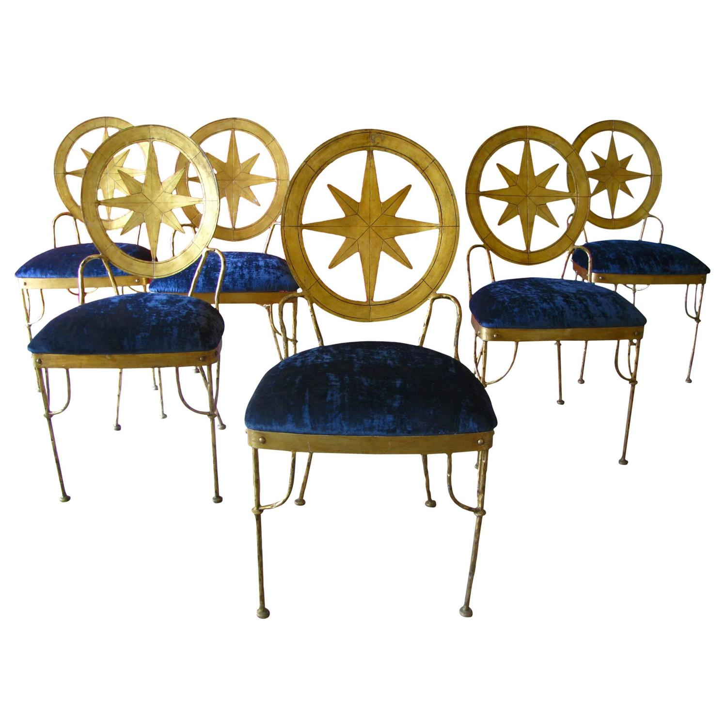 Six French Art Deco Gilded Wrought Iron 1940s Chairs Style