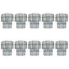 Set of Ten Beautiful Murano Glass Wall Sconces in the Style of Fontana Arte