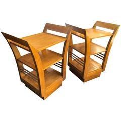 Jean Royère Pair of Two-Tier Bedsides or Side Tables in Oak