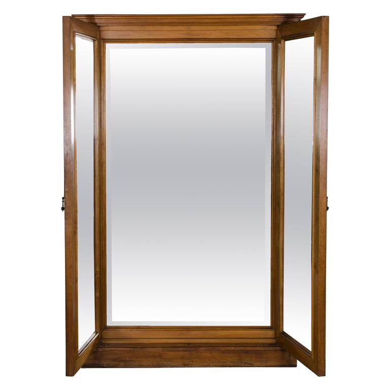 Antique sycamore dressing mirror cabinet at 1stdibs for Vintage floor length mirror