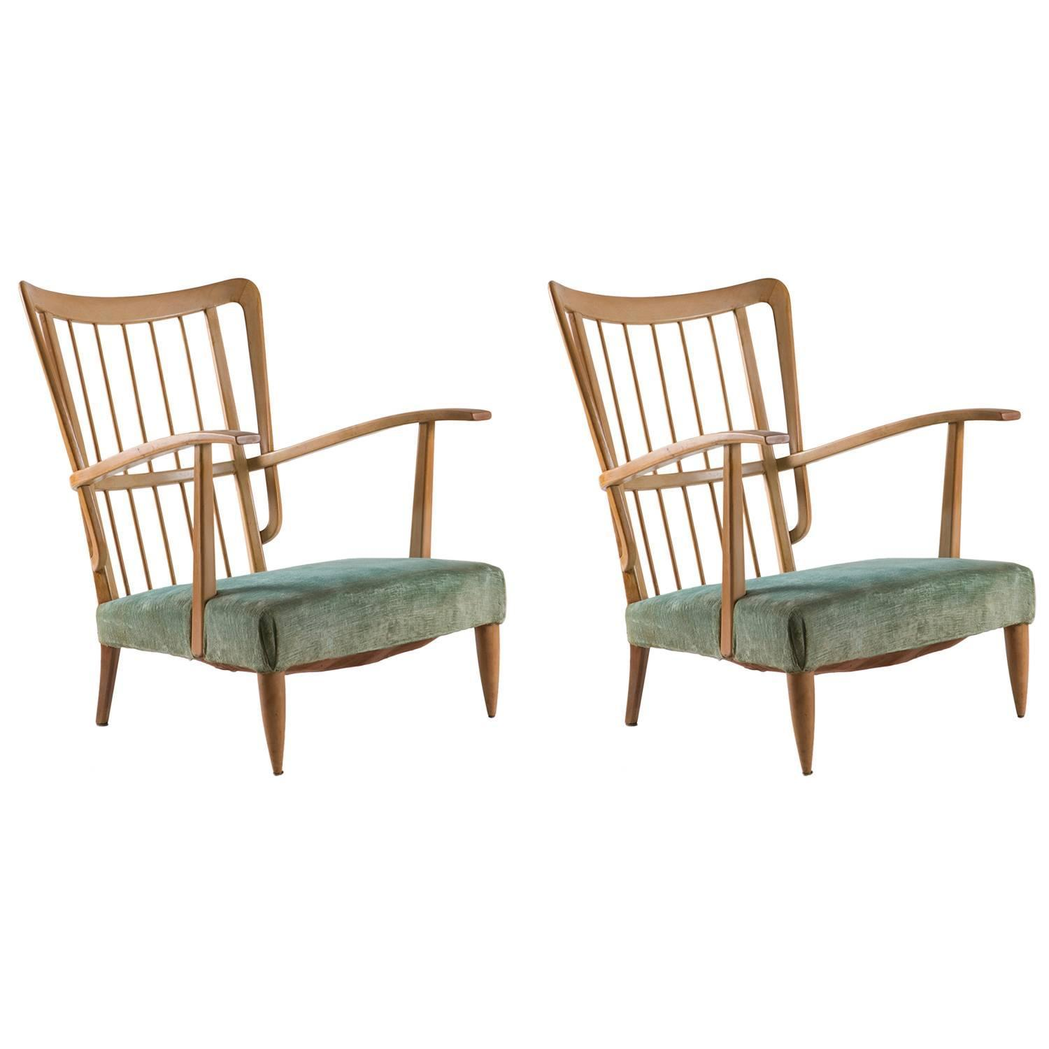 Remarkable Pair Of Two Italian 1940s Lounge Chairs For