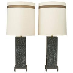 Pair Of Ebonized Oak Table Lamps in the style of James Mont