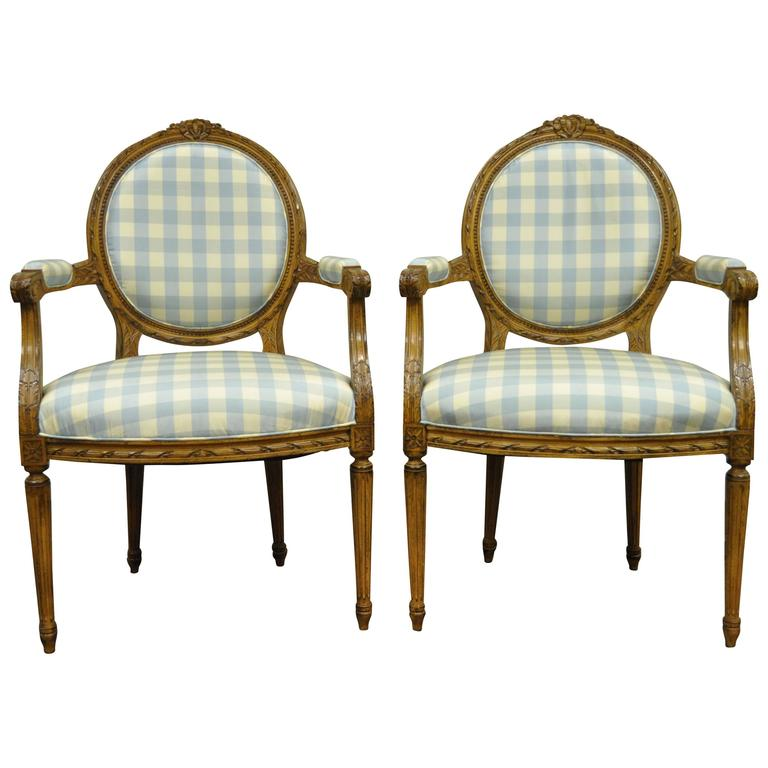 Elegant Pair of French Louis XVI Style Finely Carved Armchairs or Fauteuils
