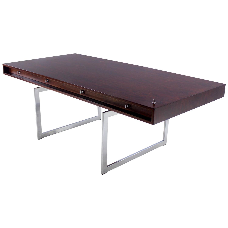 Impressive Mahogany Office Desk brilliant mahogany office desk mahogany and more desks impressive Impressive Danish Modern Rosewood And Chrome Executive Desk By Bodil Kjaer At 1stdibs