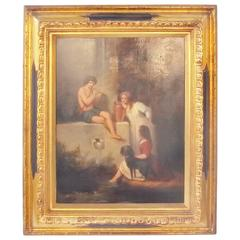 Oil Painting on Board of Children, Signed Henri Baron