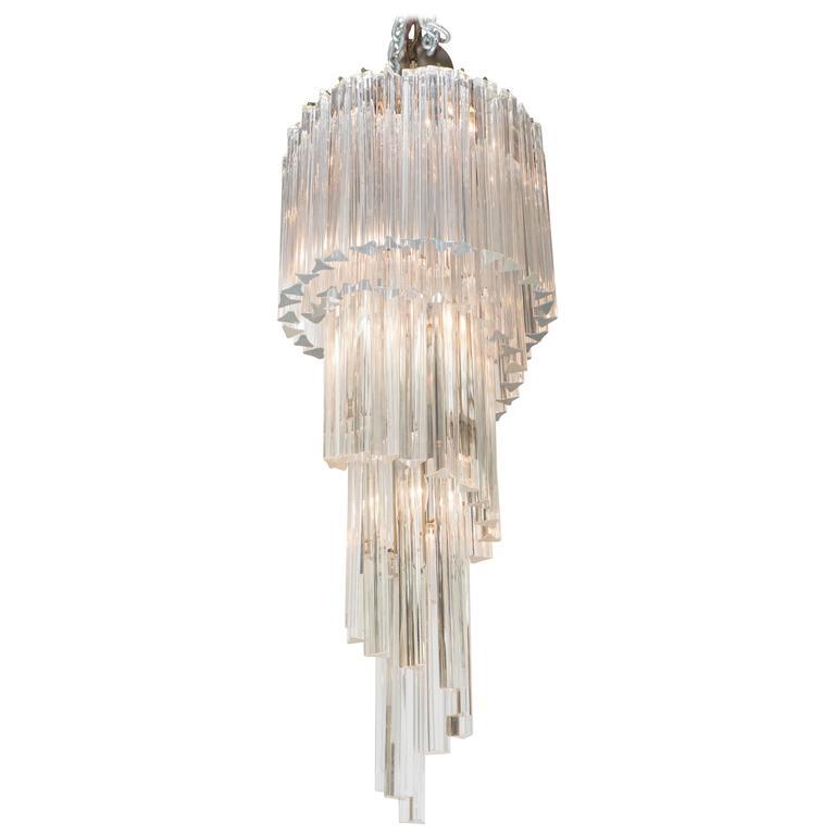 Venini Five-Tier Cascading Chandelier with Murano Glass Triedri Prisms