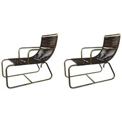 Pair Sleigh Chairs in the Style of Walter Lamb