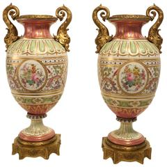 Pair of Sevres Style Urns