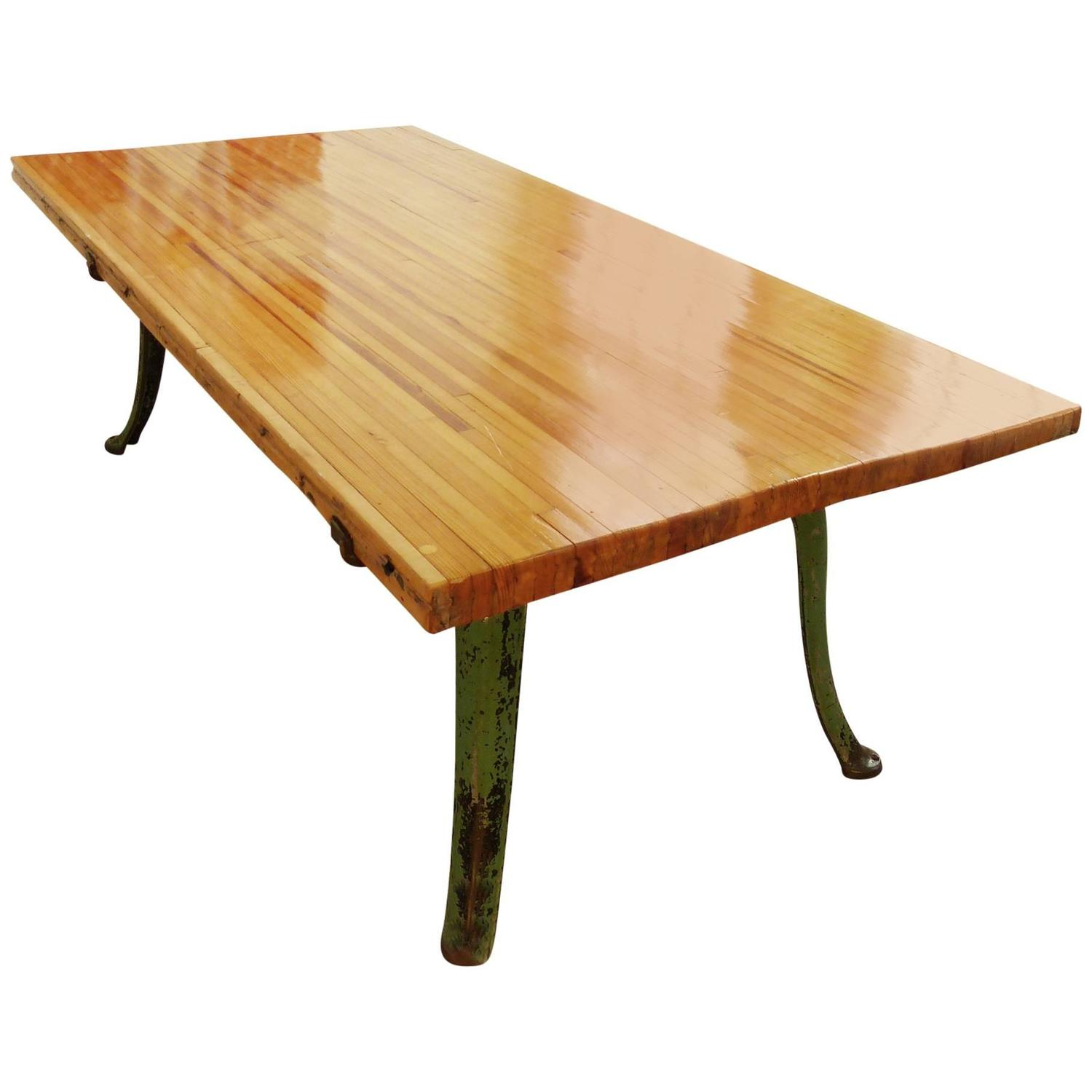 Dining table with cast iron legs and reclaimed wood for for Cast iron table legs for sale