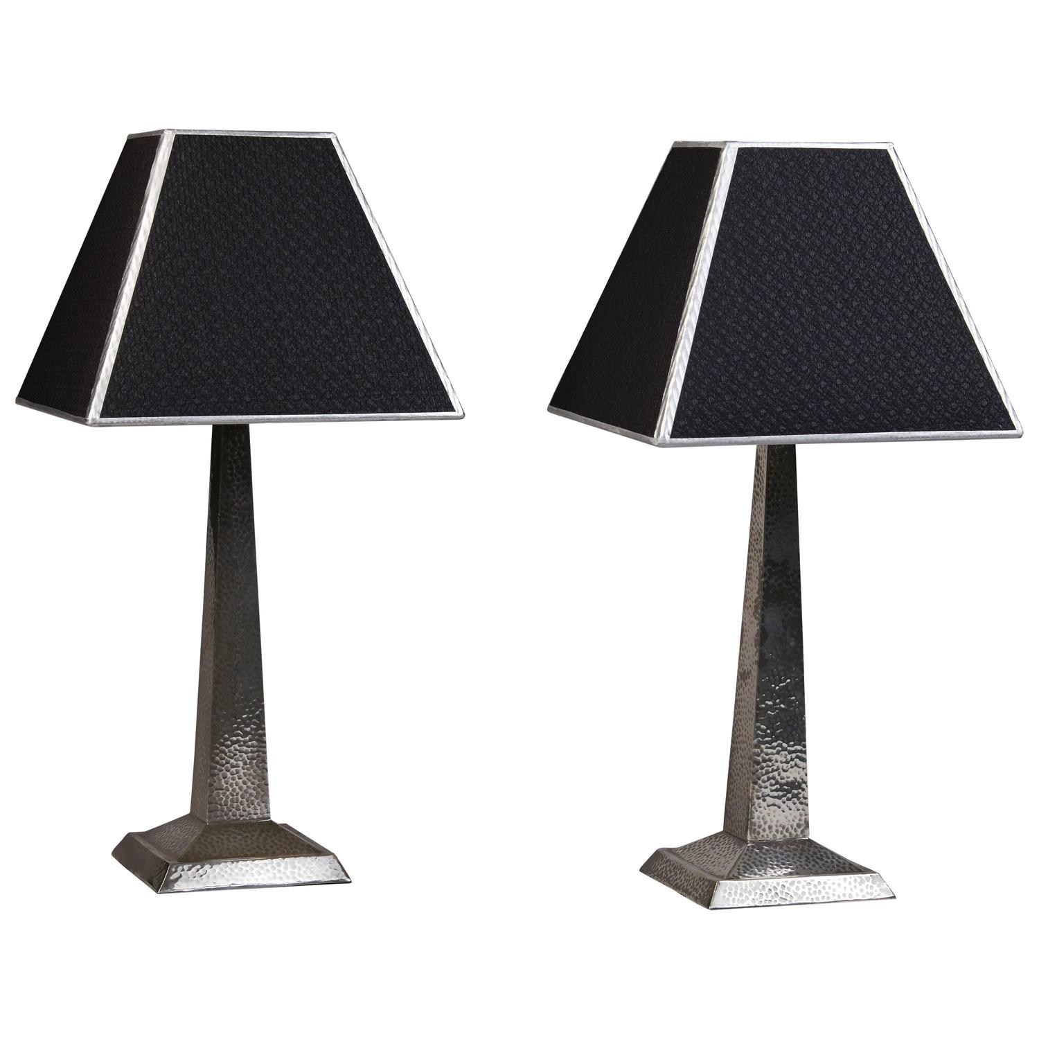 Pair Of Sheffield Silver Art Deco Bedside Lamps At 1stdibs