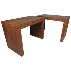 Mid-Century Modern Burl Cork-Top Parsons Style Side Table