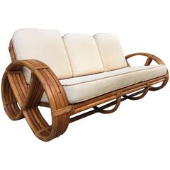 Rattan Sofa in the Style of Paul Frankl