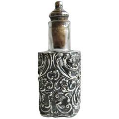 Edwardian Sterling Silver Cased Glass Perfume Bottle, Birmingham England 1904