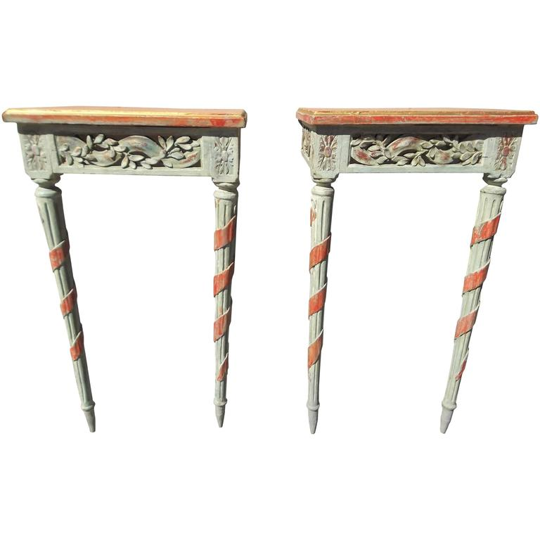 Pair of Louis XVI Style Painted Consoles