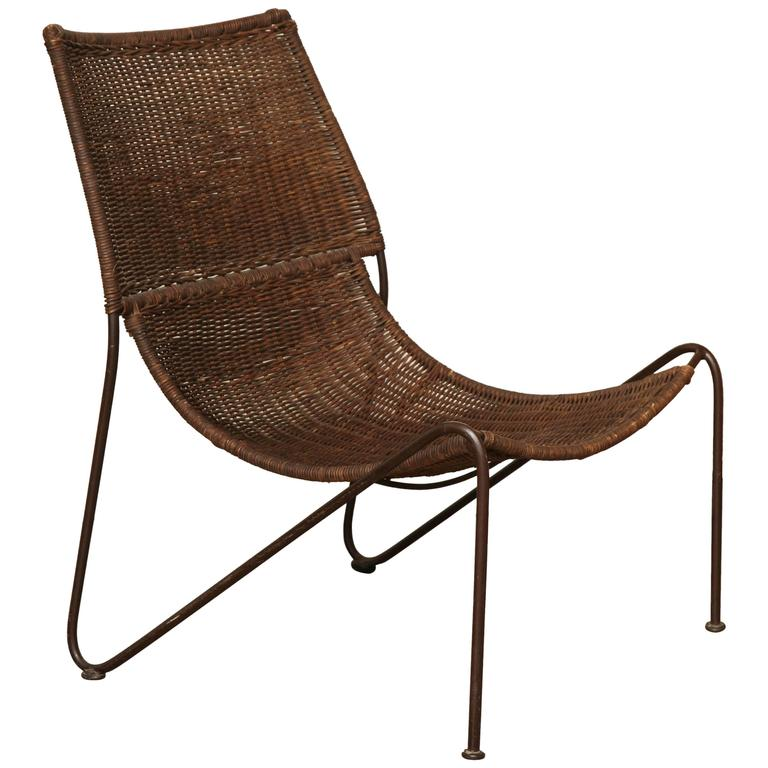 Wicker Scoop Lounge Chair with Iron Base by Frederick  : 3269153l from www.1stdibs.com size 768 x 768 jpeg 50kB