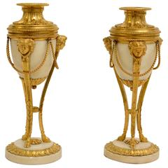 Pair of Gilt Bronze and White Marble Louis XVI Cassolettes