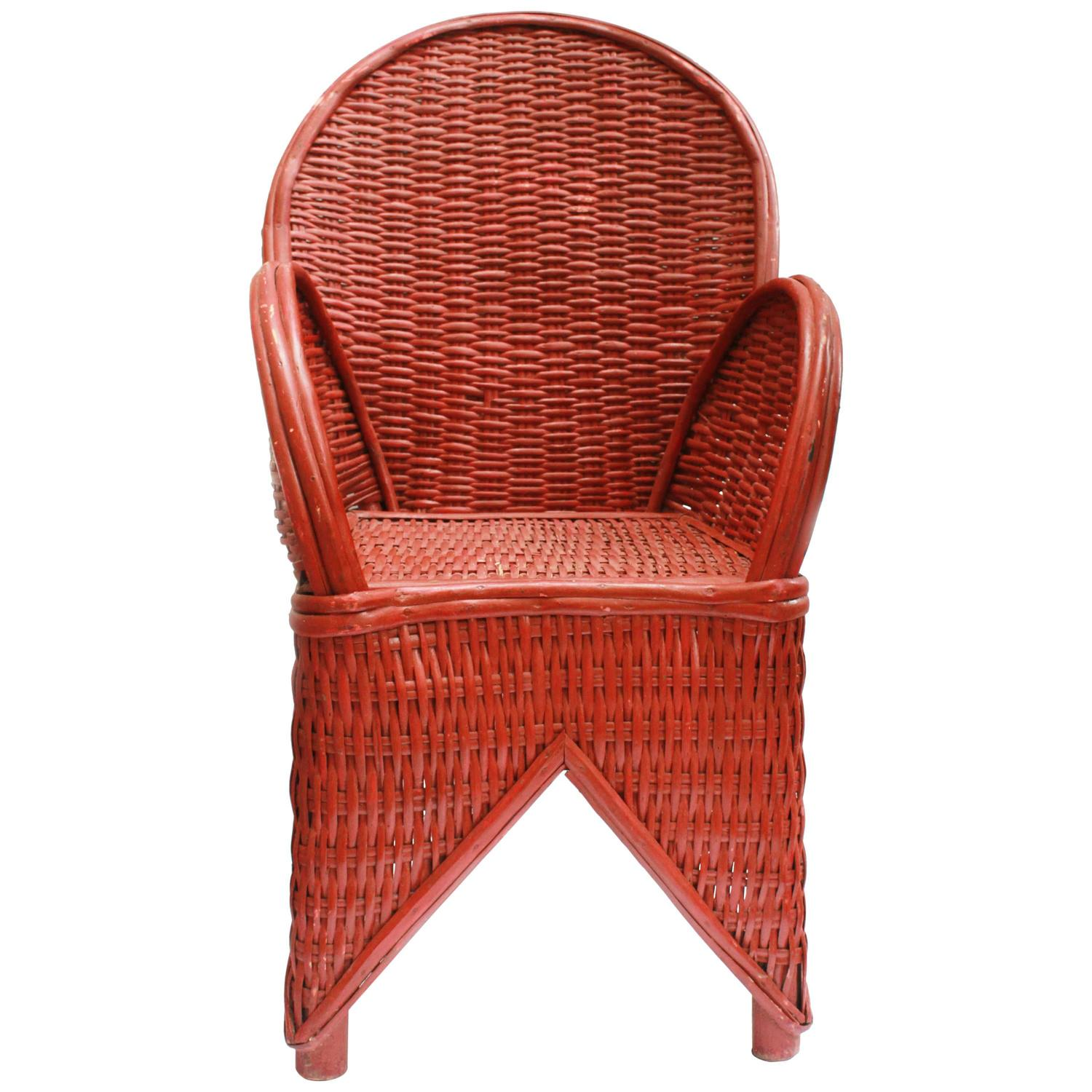 Made To Order Red Wicker Chair Handmade In Morocco At 1stdibs