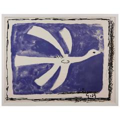 Large Vintage Georges Braque Bird Poster in Purple