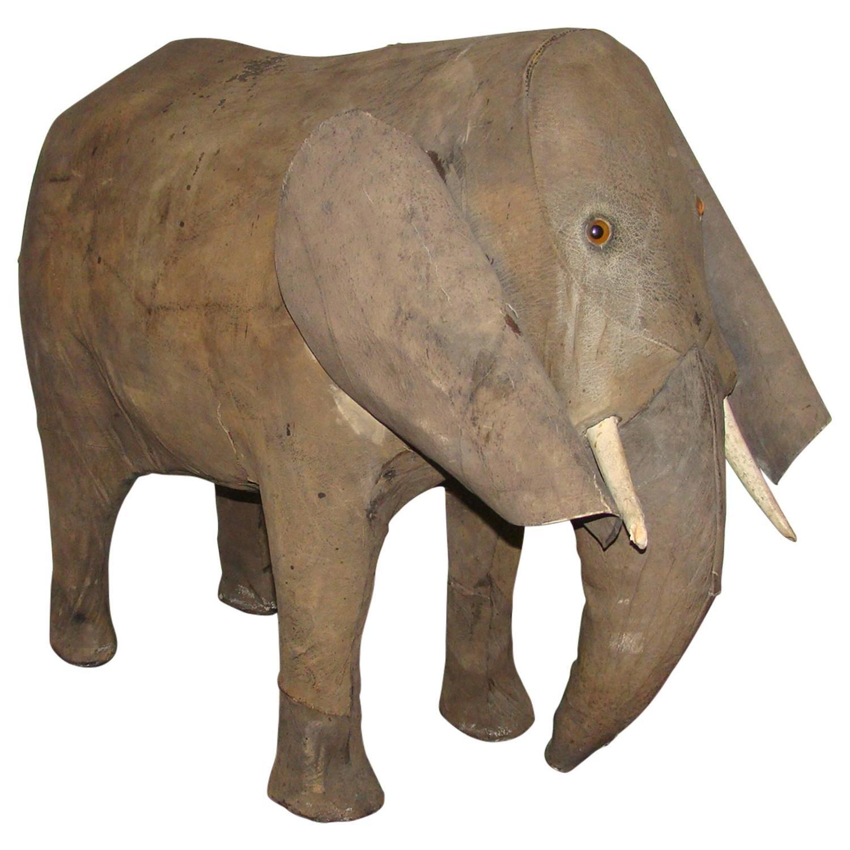 Early leather elephant folk art footstool sculpture at stdibs