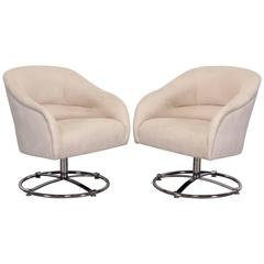 Pair of Large Scale Chromed Steel Swivel Chairs by Ward Bennett, 1970
