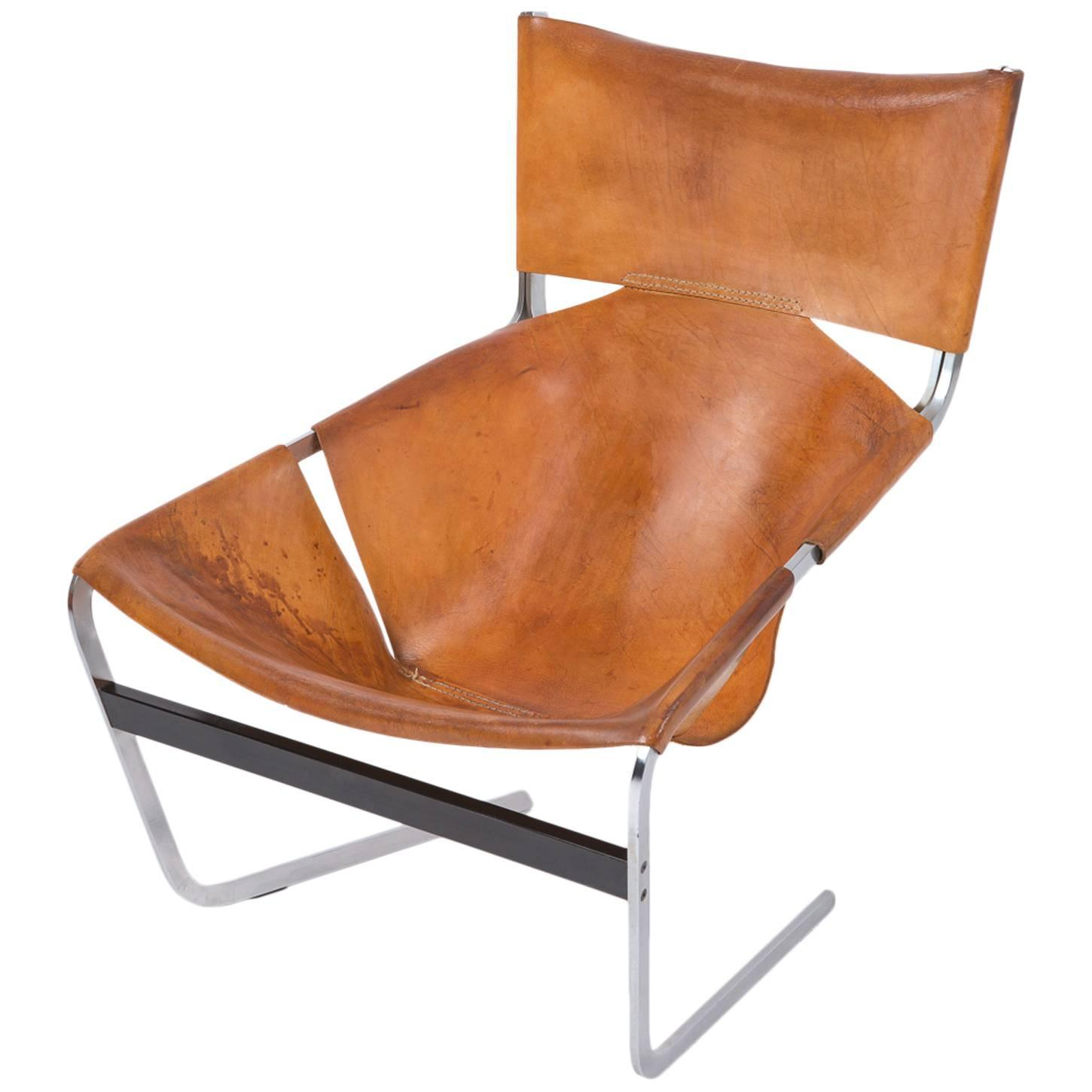 Pierre Paulin Artifort F444 Artifort in Brown Leather Chair 1965