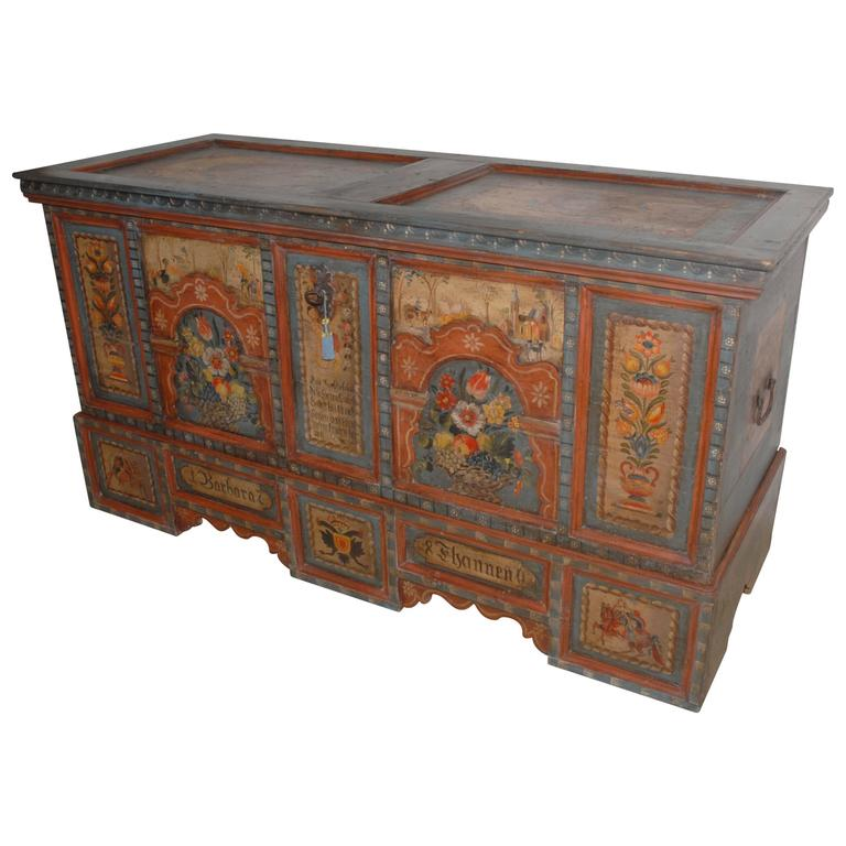 18th Century Painted Marriage Chest At 1stdibs