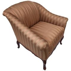 Handsome Fruitwood Upholstered Club Chair