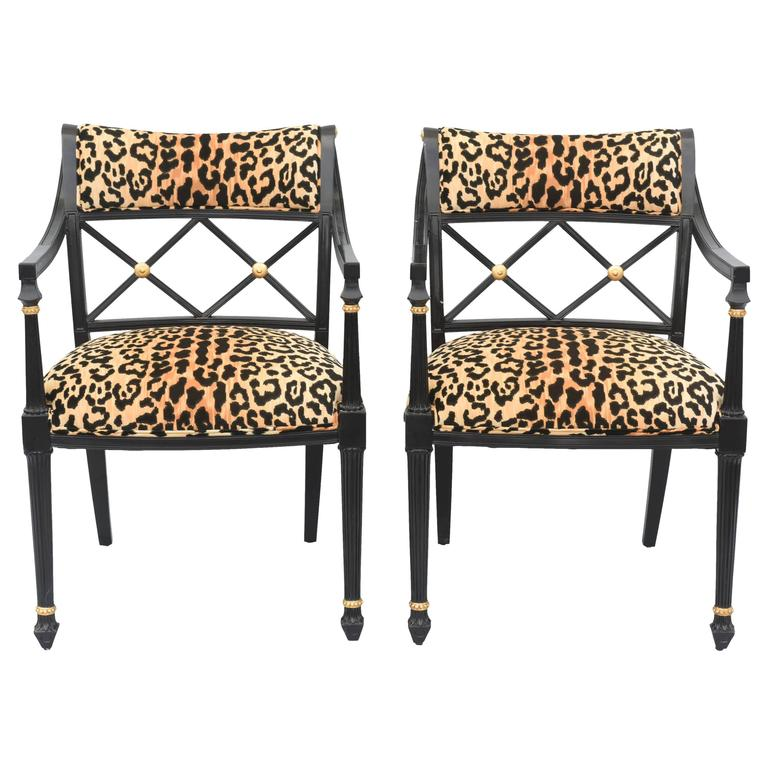 Pair of Lacquered Regency Style Armchairs
