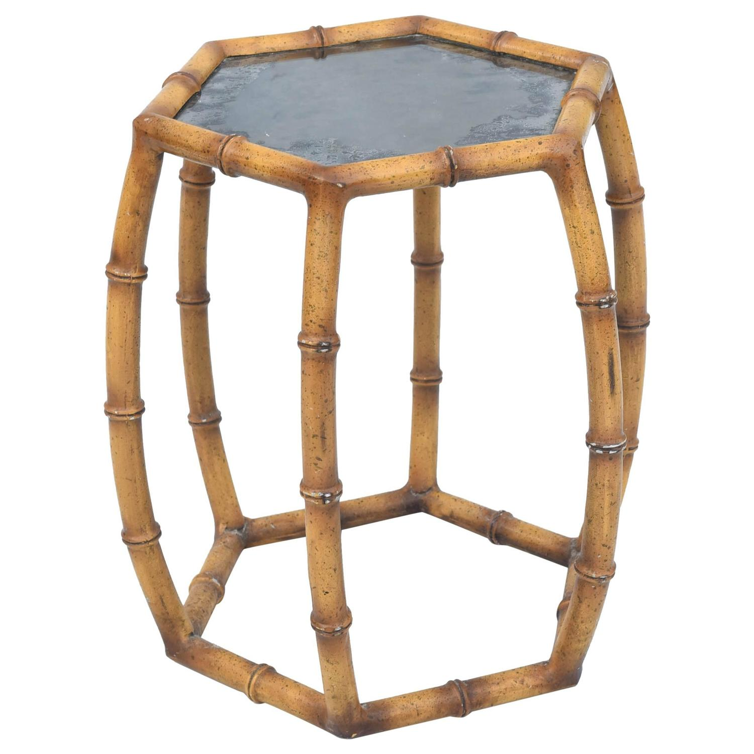 Faux bamboo painted iron accent table at 1stdibs for Bamboo side table