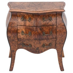 Northern Italian Burlwood Bombe Miniature Commode