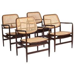 "Brazilian Mid-Century Modern Rosewood ""Oscar"" Chairs by Sergio Rodrigues"