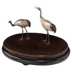 Pair of Japanese Taisho Period Silver Cranes