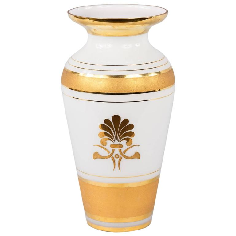 French Vintage Opaline Glass Vase, 1950s 1