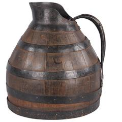 Early 1900s French Barrel-Shaped Wine Pitcher