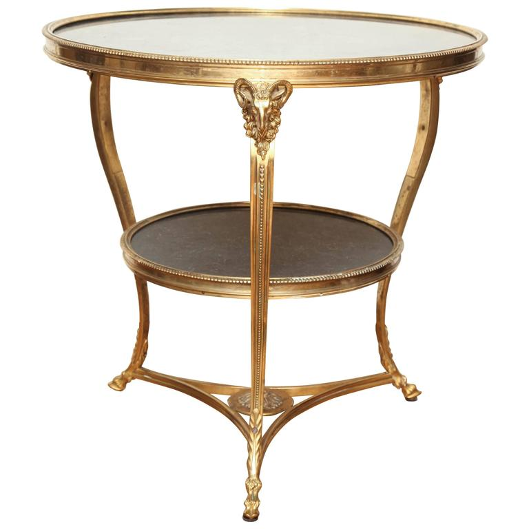 Round French Louis XVI Style Boulliotte Table For Sale