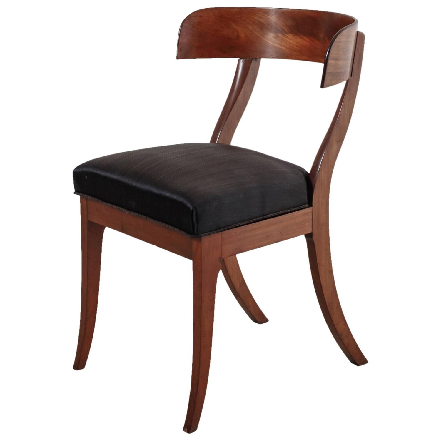 Danish Mahogany Klismos Chair with Horsehair Seat 19th Century at