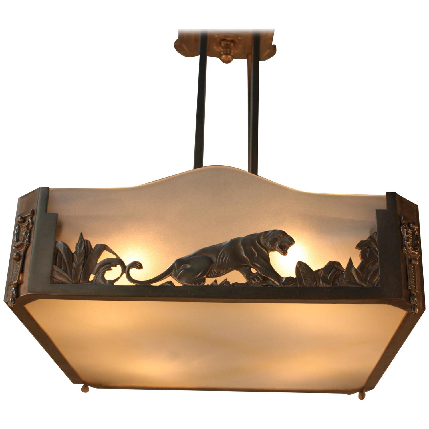 French art deco chandelier at 1stdibs - Lights and chandeliers ...